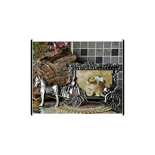 Lastsummer Mini Photo Frames Vintage Picture Frames White Horse Carriage Photo Frame,5 inches