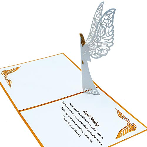 Guardian Angel Pop up Card With Envelope | 3D Angel Card for Christmas, Easter, Get Well Soon Card, Funeral, Bereavement, Memorial, Get Well Soon Card | Comes With Angel Blessing Inspirational Quote