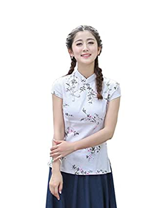 YueLian Mujeres Elegante Retro Manga Corta Patrón Floral Talla 36-44 Traje chino Blusas Chinas Top Blanco (L)