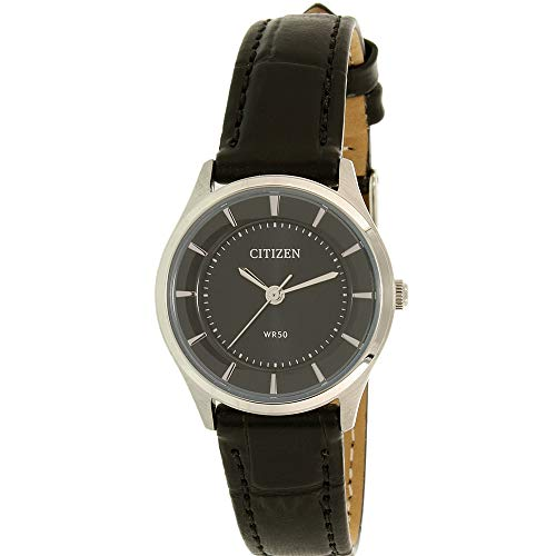 Citizen Stainless Steel Case with Black Dial and Leather Strap, Women's Quartz Watch - ER0201-05E