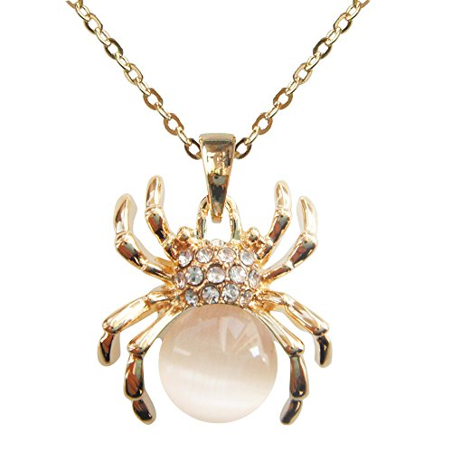 Navachi 18k Gold Plated White Opal Crystal Spider Az6081s Pendant Necklace 16