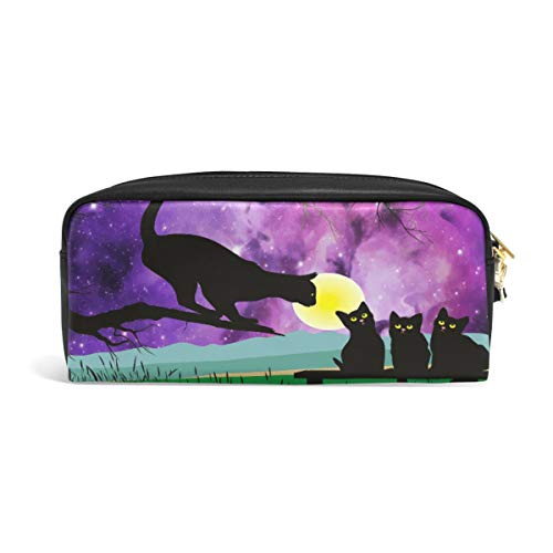 Linomo Pencil Bag Galaxy Black Cat Moon Zipper Leather Pencil Case Pen Bag Pouch Holder Small Cosmetic Brush Makeup Bag for Travel Office School -