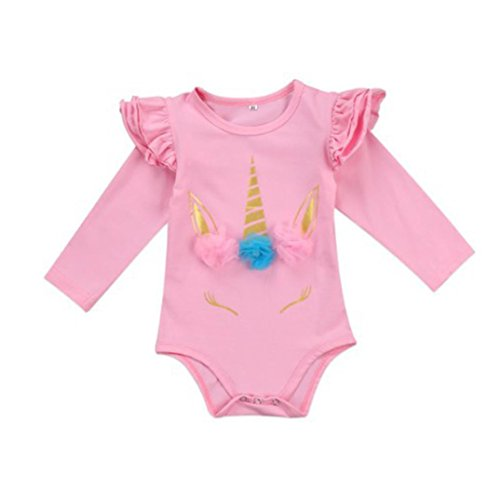 One-piece Newborn Baby Girls Floral Unicorn Polka Dot Long Sleeve Romper Vibola (Size:0/6M, Pink)