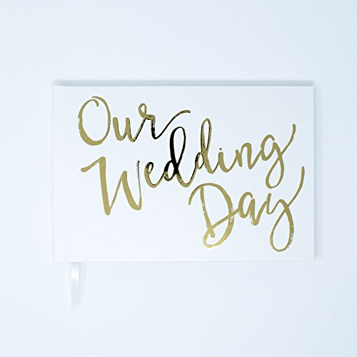 please + thanks Wedding Guest Book, Real Metallic Gold Foil Cover Design, White Casebound Hardcover, 50 Acid-Free Blank White Interior Sheets (100 Total Pages) (9 x 6 Inches) by please + thanks