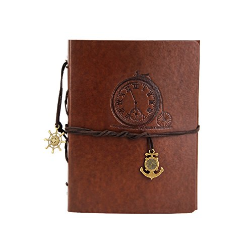 A5 Leather Journal Notebook, XIUJUAN Refillable Blank Paper Writing Journal Spiral Bound Notebook Diary Drawing Sketchbook Gifts with Unlined Vintage Journal for Women Girls Men Boys, Watch Brown.