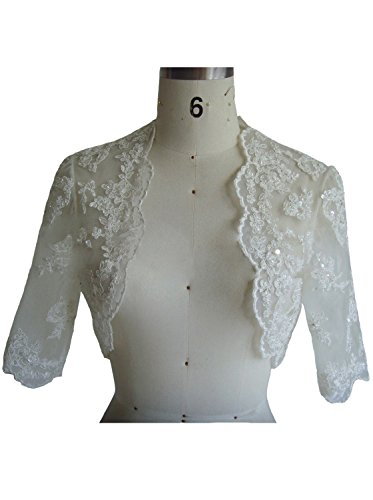 JOYNO BRIDE Women's short Sleeves Applique Wraps Wedding Bridal Bolero Jacket (12, Ivory)