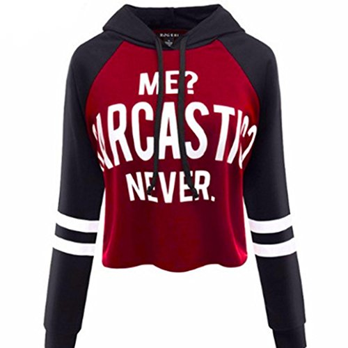 Gotd Women Long Sleeve Round Neck Letters Tank Crop Tops Blouse (XL, Black Red)