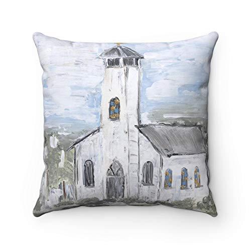 Dozili Glory Be Pillow Includes Insert White Church Square Fall Decor Thanksgiving Decor Decorative Pillow Cover Spun Polyester Square Pill