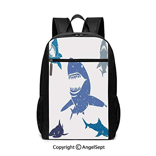 "Travel Backpack Laptop Backpack,Grunge Style Big and Small Sharks with Open Mouth Predator Jaws Image,Royal Blue,6.5""x12""x17"",For Boys Girls School Book Bags"