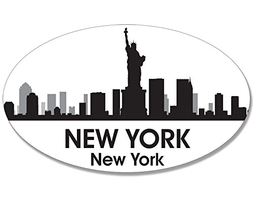 American Vinyl Oval B/W Skyline of New York Sticker (City ny Decal)
