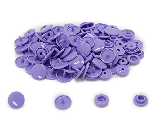 Button Mama - 100 Sets KAM Size 20 T5 Resin Plastic Snaps Buttons Fasteners Punch Poppers for Cloth Diaper/Bibs/Unpaper Towels/Nappies/Buttons/Mama Pads (B28 - Dark Lavender)