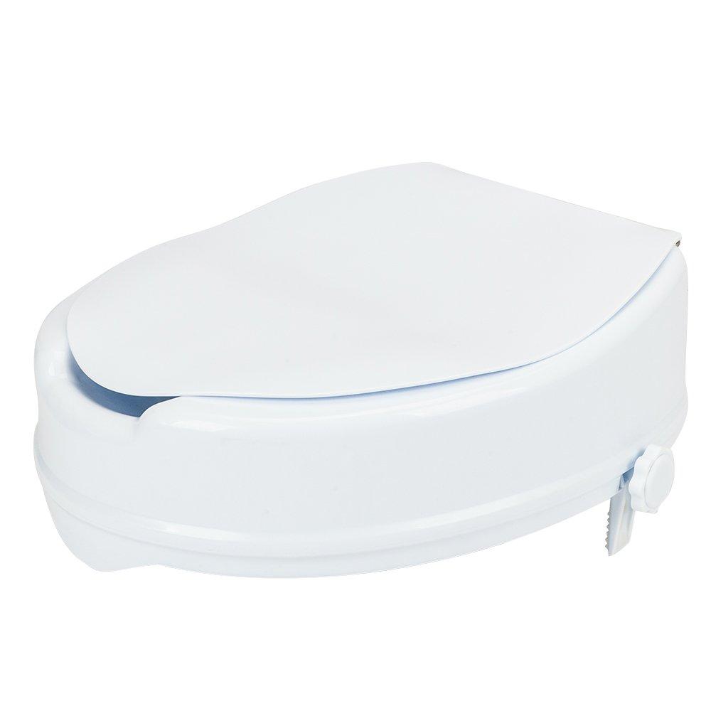 Mefeir Raised Toilet Seat with Lid Medical Elevated Extender,Bathroom Bidet Seat Safety Lifter Frame,Locking Mechanism for Elderly(White)
