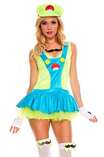 Ladies Sexy Super Mario or Luigi 1980s 80s Halloween Fancy Dress Costume Outfit (UK 8-10 for $<!--$31.49-->