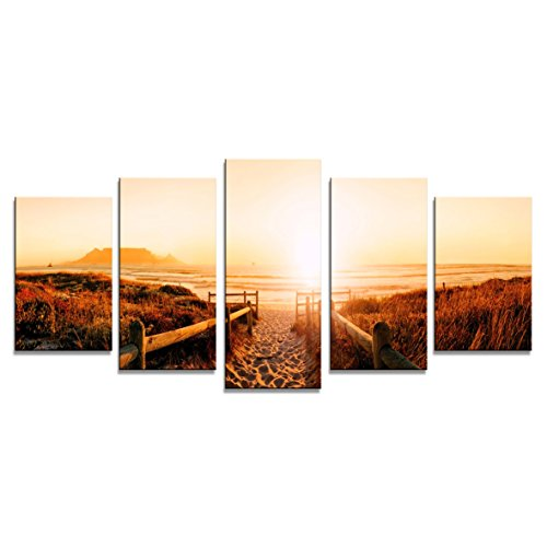 Wieco Art Sunrise Canvas Prints Wall Art Ocean Sea Beach Pictures Paintings for Living Room Bedroom Dining Room Home Decoration 5 Piece Modern Stretched and Framed Giclee Beige Red Landscape Artwork