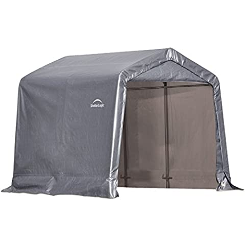 ShelterLogic Shed-in-a-Box with Auger Anchors, Peak, Gray - Shelterlogic Canopy