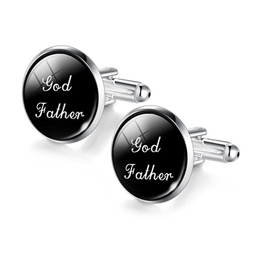 Art Words God Father Glass Rhinestone Cufflinks for Men Father Day - For Fancy Word Glasses