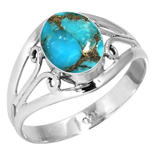 Copper Blue Turquoise Women Jewelry 925 Sterling Silver Ring Size 6 ()