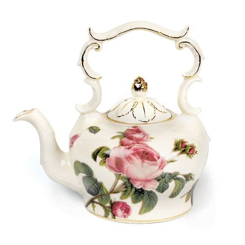 Porcelain Teapot With Delicate Rose Design For Teas And Fine Dining Pleasure