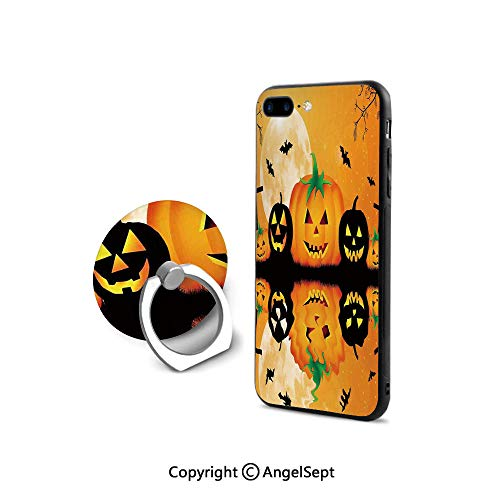Protective Case for iPhone 8/iPhone 7 with Ring Holder Kickstand,Spooky Carved Halloween Pumpkin Full Moon with Bats and Grave Lake,Ultra Thin Slim Cover Case,Orange Black]()