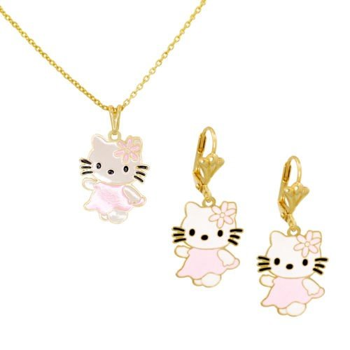 Bijoux Kids para disfraz infantil 2 piezas, diseño de Hello Kitty, color rojo