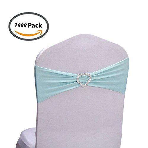 Eugene Victor Leila 1000 PCS Polyester Spandex Banquet Chair Sashes Bows  Elastic Heart-shaped Chair Cover Bands with Buckle Slider Sashes Bow for