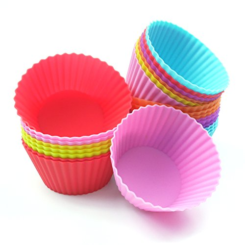 LEMCASE Silicone Baking Cups, Cupcake Liners, Muffin Cup (Set of 24, Round) - Cake and Chocolate Small Pastry Molds - Red, Blue, Yellow, Pink, Purple, Orange