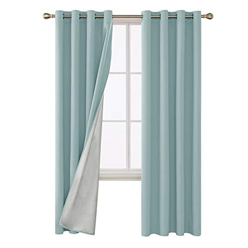 Deconovo Energy Saving Grommet Blackout Curtains with Silver Coated Backing Thermal Insulated Drapery Drapes for Living Room 52W x 108L Inch Sky Blue 2 - Blackout Drapes