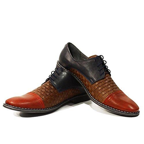 Modello Lino - Handmade Italiano Da Uomo In Pelle Colorato Scarpe da sera - Vacchetta Pelle in rilievo - Allacciare