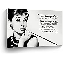 Audrey Hepburn Breakfast at Tiffany`s Quotes Canvas Print Decorative Art Modern Wall Décor Artwork Stretched - Ready to Hang -%100 Handmade in the USA - 8x12