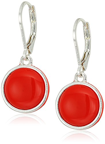 Napier Silver-Tone and Red Leverback Drop Earrings