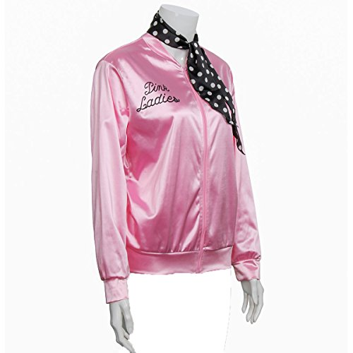 COSFLY Ladies 50S Grease T Bird Danny Pink Satin Jacket Halloween Cosplay Costume with Neck Scarf (X-Large) by COSFLY (Image #1)