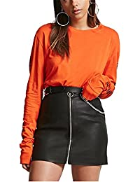 Womens Faux Leather Skirt Slim Fit High Waist Stretch PU Pencil Skirts
