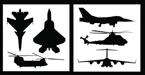 Auto Vynamics - STENCIL-MILAIRSET01-10 - Detailed Military Aircraft Stencil Set - Includes Fighter Jets & Helicopters! - 10-by-10-inch Sheets - (2) Piece Kit - Pair of Sheets ()