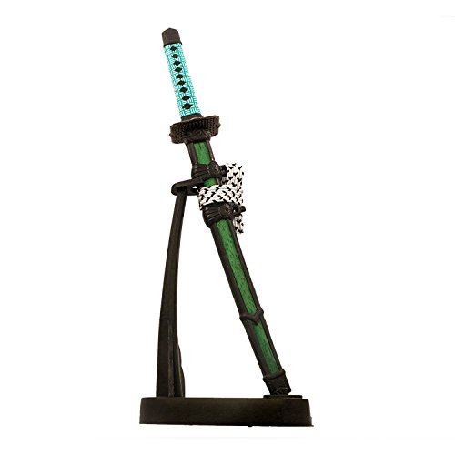 Table Top Mini Japanese Samurai Sword Letter Opener, 8.5-inch with Stand (Green) (Imperial Katana)