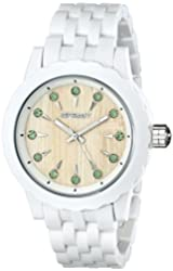 Sprout Women's ST/6803GNWT Green Swarovski Crystal Accented Bamboo Dial White Corn Resin Bracelet Watch