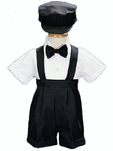 4-Piece Christening Baptism Suspender Short Set - Black Cap Bowtie (Set Toddler Black Apparel)
