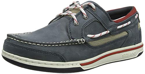 (Sebago Mens Triton Three Eyelet NBK Blue Navy Leather Boat Deck Shoes Size 10)