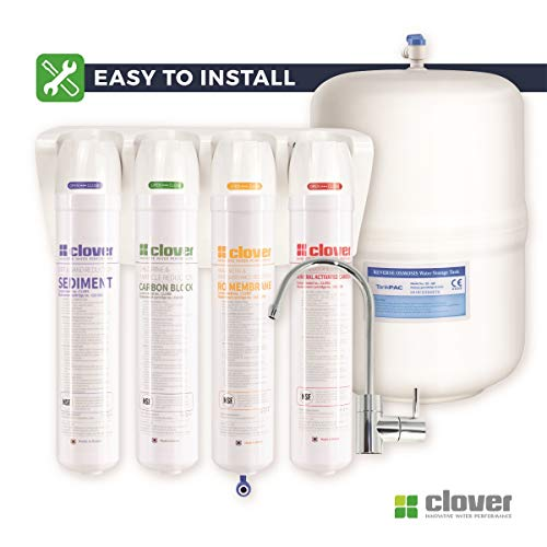 Clover Easy-Install Compact Reverse Osmosis Drinking Water Filter System, 5-Stage in 4 Filters (Includes Quick-Connect Fittings, Mineral Filter, Quick-Change Filters, Ice-maker Kit and 20' Tubing)