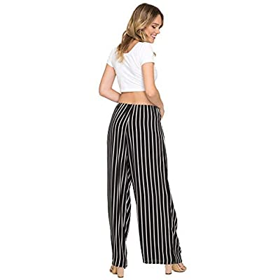 She + Sky Women's High Waist Wide Legged Striped Palazzo Pants with Tie Waist Sash at  Women's Clothing store