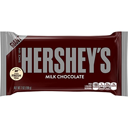 HERSHEY'S Chocolate Bar, Milk Chocolate Candy Bar, 7 Ounce Bar (Pack of 12)