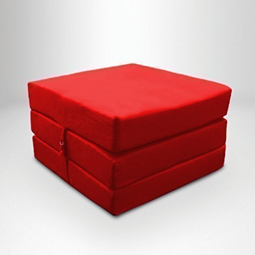 Red Water Resistant Fold Out Z Bed Cube Mattress with Fastening Ready Steady Bed