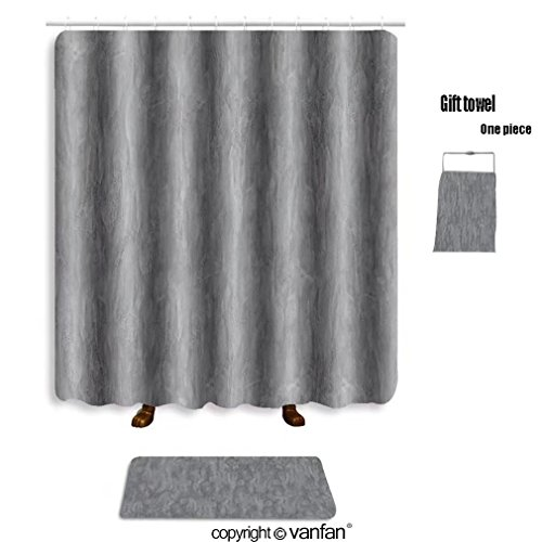 Vanfan Bath Sets With Polyester Rugs And Shower Curtain It Is Design On Cement Concrete