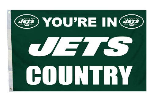 NFL New York Jets Country 3-by-5 Feet Flag with Grommetts (Grommet Jet)