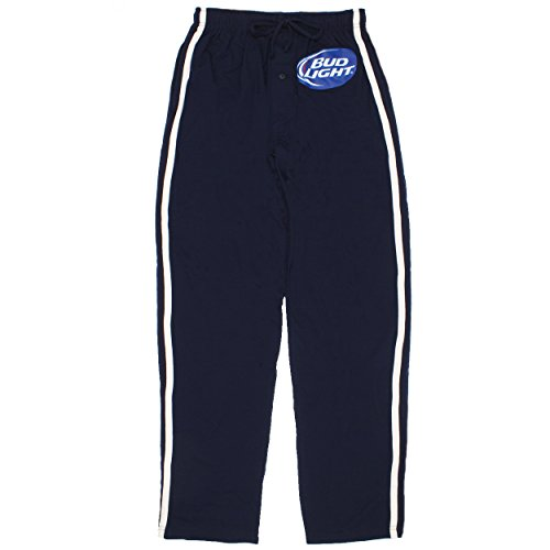 Budweiser Bud Light Mens Lounge Pants (Large, Bud Light Navy)