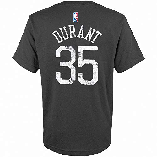 Outerstuff NBA Youth 8-20 Distressed Tri-Blend Player Name and Number Jersey T-Shirt (Medium 10/12, Kevin Durant Golden State Warriors Gray)