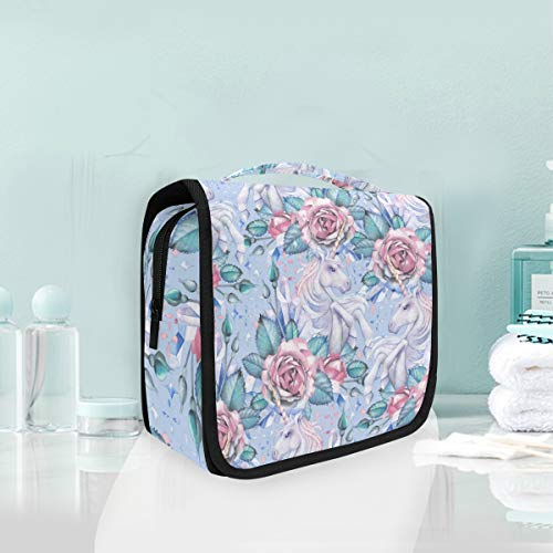 (Toiletry Bag Multifunction Cosmetic Bag Unicorn And Rose Vignette Portable Makeup Pouch Travel Organizer Bag for Women Girls)