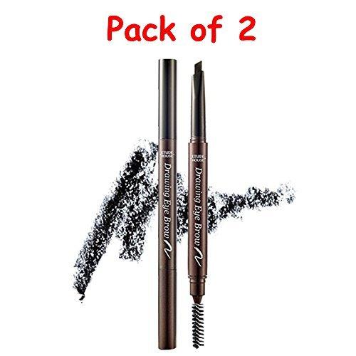 Etude House Drawing Eye Brow / #6 Black [Pack of Two] with Eyebrow Razor