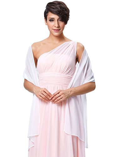 Georgette Dress One Shoulder - Wedding Soft Chiffon Evening Party Shawls Scarves for Women White KK229
