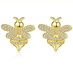 Cubic Zirconia Stud Earrings Jewelry -18k White Gold Plated Gold Honeybee CZ Stud Earrings, Perfect for Daily Wear (Gold Honeybee Earrings)