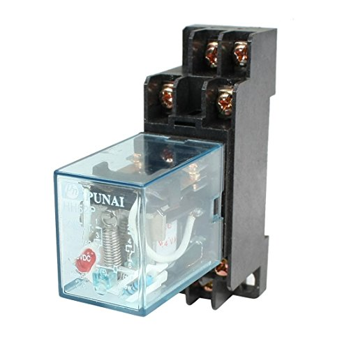 Ac Coil Relay - URBEST HH52P AC 24V Coil DPDT 8 Pins Electromagnetic Power Relay w DYF08A Base